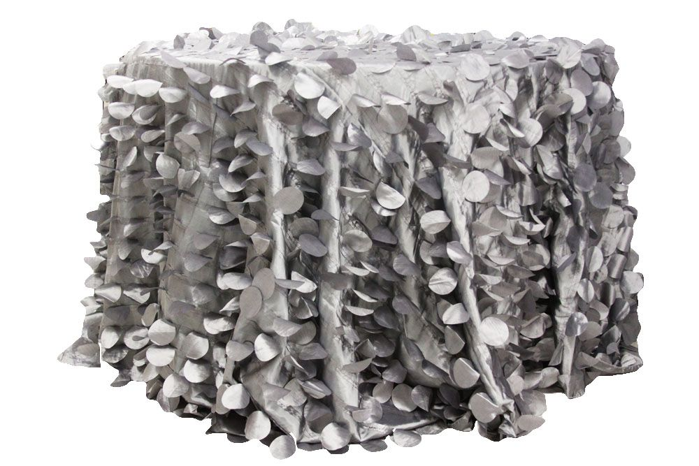 Petal Circle Taffeta 132 Quot Round Tablecloth Silver
