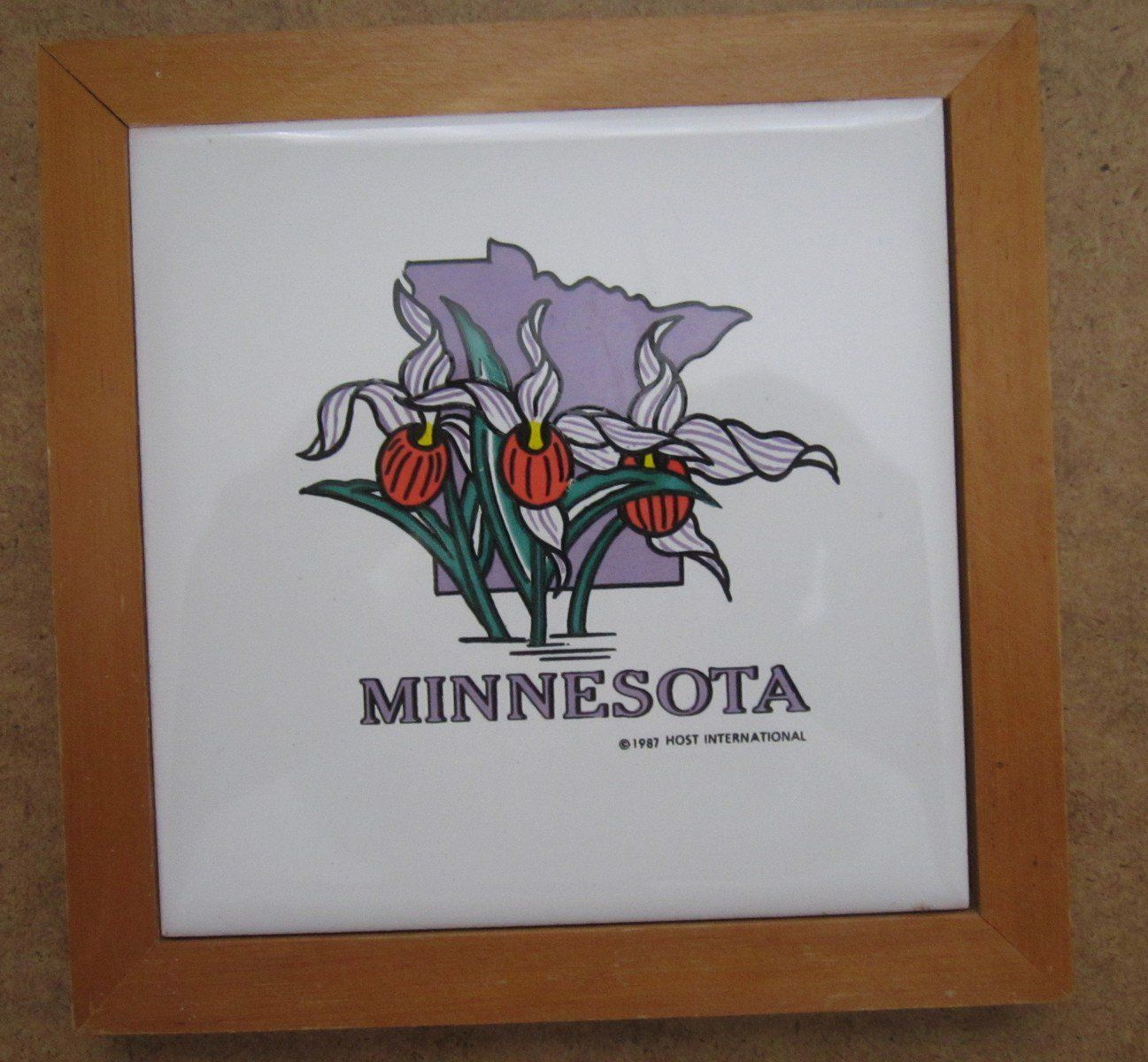 Vintage+Minnesota+Ceramic+Trivet+Hot+Plate+State+Flower+Lady\'s+ ...