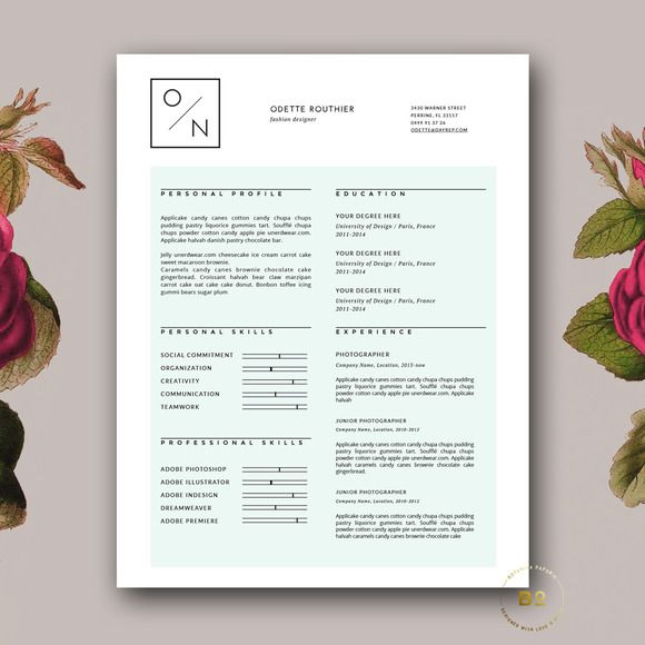 Check out Hipster Resume Template for MS Word by Botanica ...