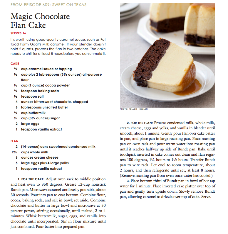 America's Test Kitchen/Cook's Country Magic Chocolate Flan