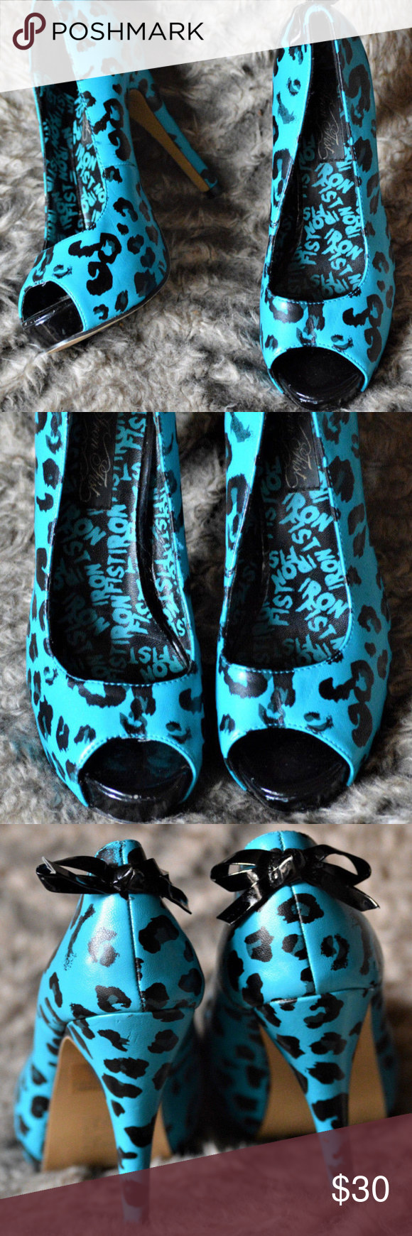 d7d8ff9ce5f6 IRON FIST BLUE LEOPARD PRINT HIGH HEEL PEEP TOE Super cute Iron Fist heels.  Blue