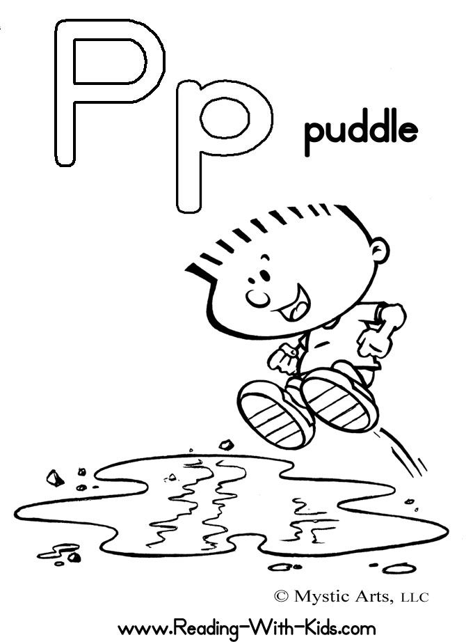 free coloring pages featuring comic kids - Letter P Coloring Sheet