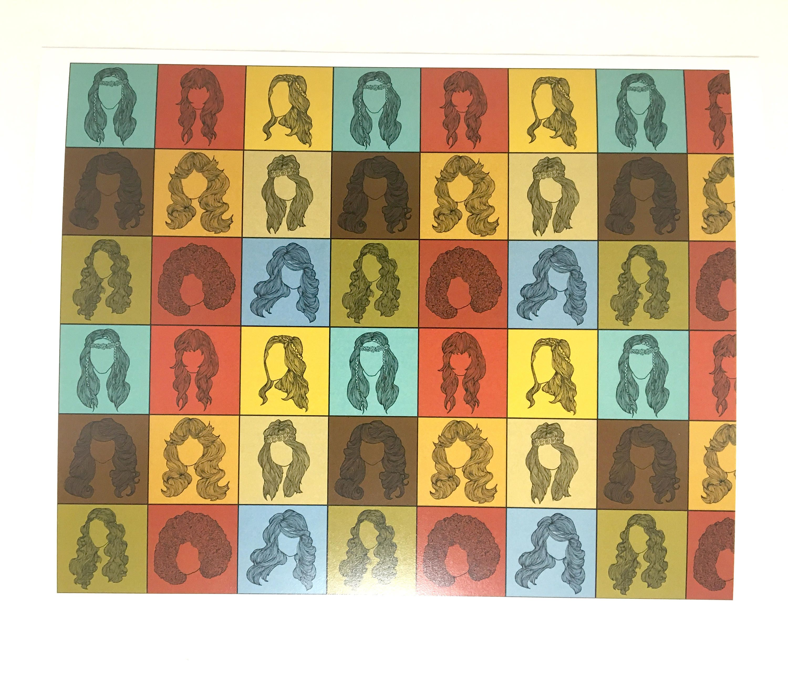 70s Hairstyles Tiled Art, Checkered 1970s Retro Wall Art, 70s Themed ...