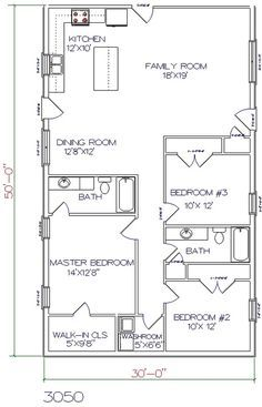 3 Bed 2 Bath 30 X 50 1500 Sq Ft Barndominium Floor Plans Barndominium Plans House Floor Plans