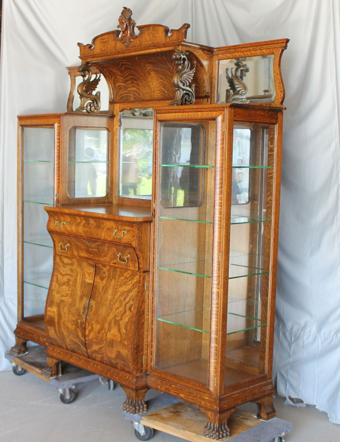 Antique Oak Double China Curio and Buffet Combination Cabinet | eBay - Antique Oak Double China Curio And Buffet Combination Cabinet