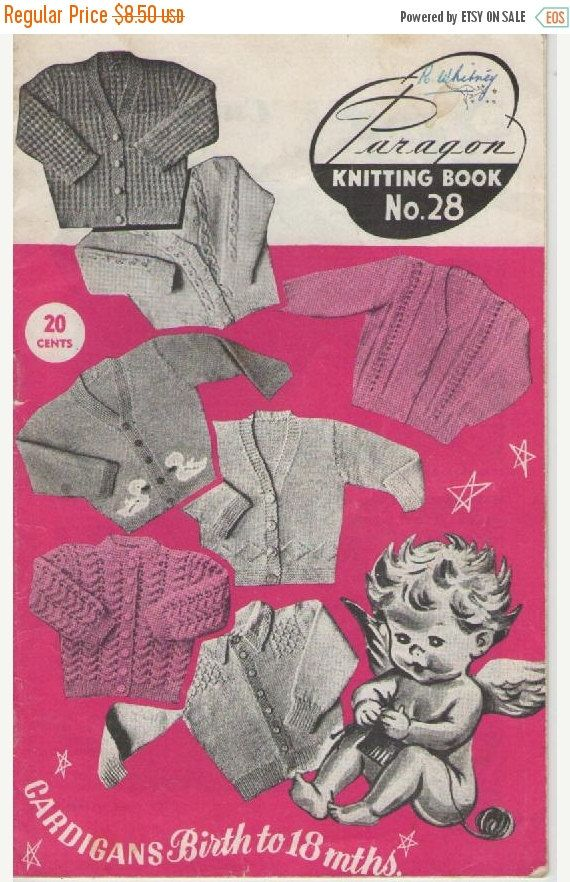 ON SALE Paragon Knitting Book No 28 Childrens Cardigans from Birth  to 18 months Vintage 1960s