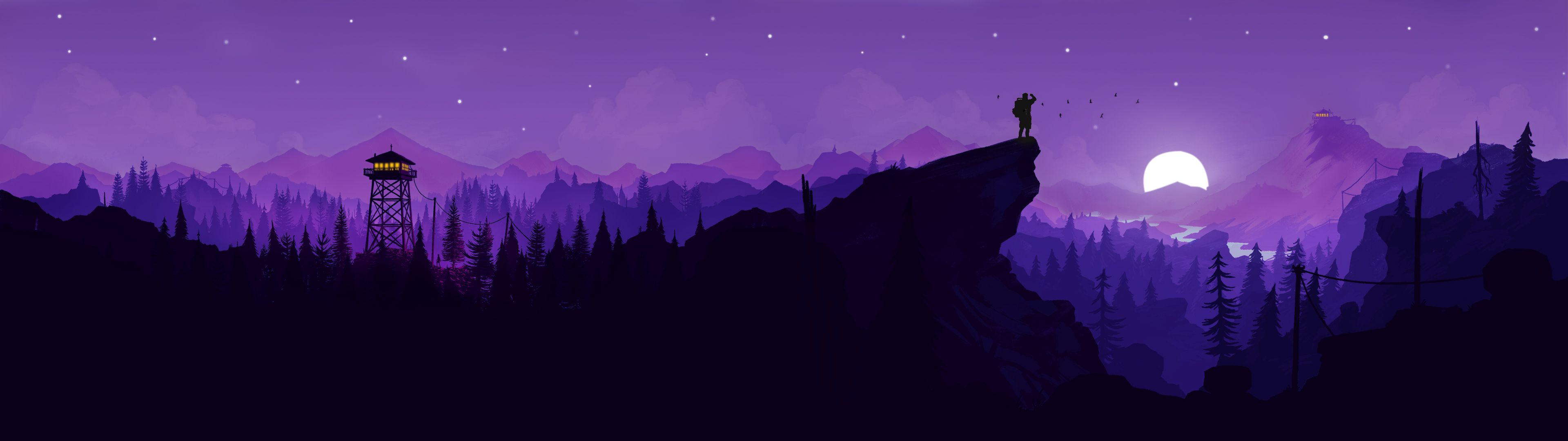 Played Around With The Firewatch Art And Made This Pretty Cool Dual Monitor Wallpaper 3840x1 Dual Monitor Wallpaper Really Cool Wallpapers 3840x1080 Wallpaper