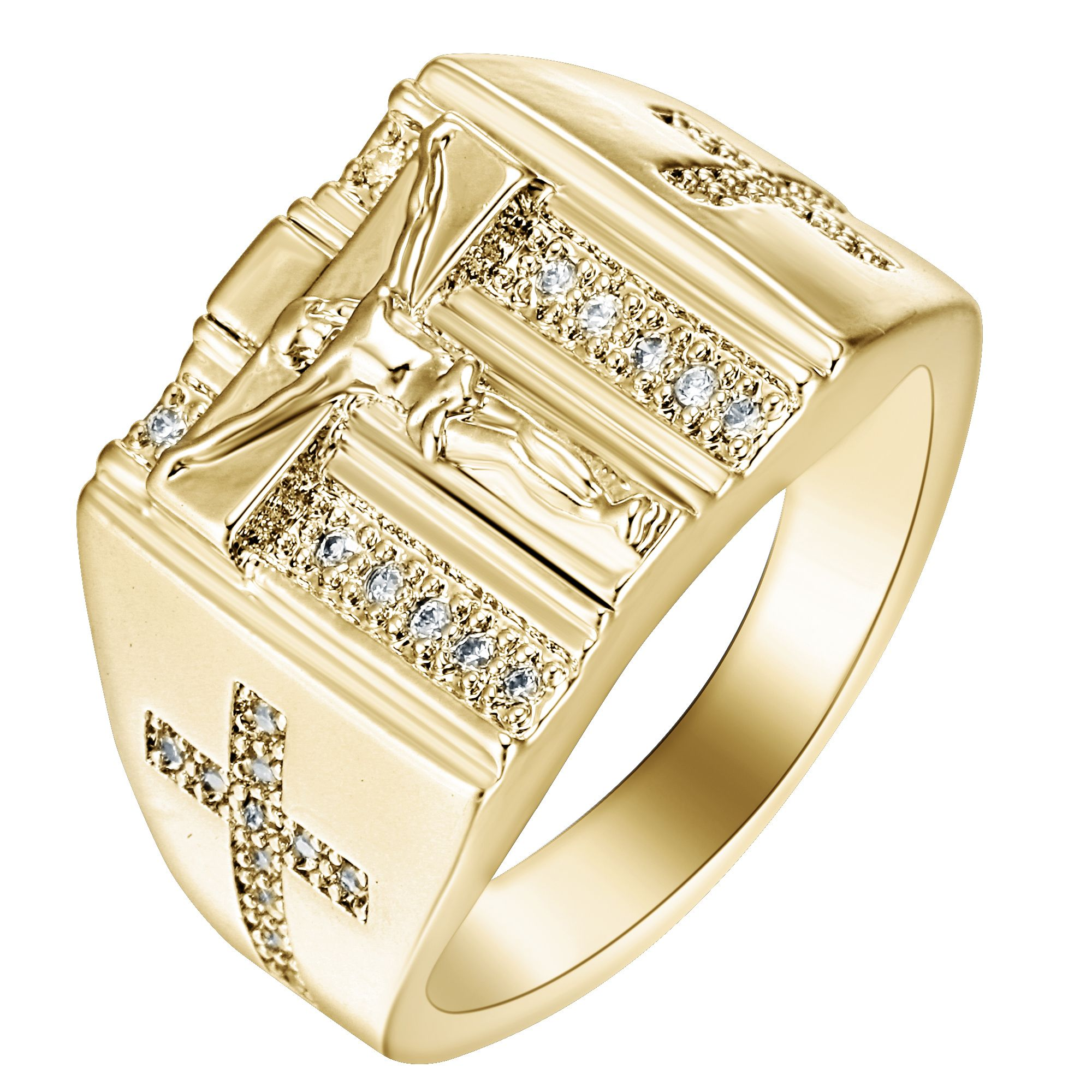 Gold Rings Jesus Design Cross carved for Men Women Anillos White Cubic  Zirconia Wedding Finger Ring