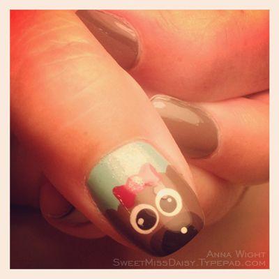 #kawaii #dotted #nails #polish #nailpolish #nailart #puppynails #kittynails #manicure