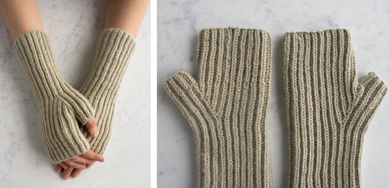 Fishermans Rib Knitted Hand Warmers Free Knitting Pattern