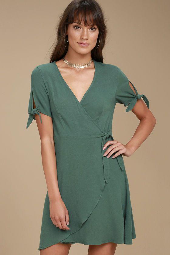 5a7e998c426 Cute Green Dress - Wrap Dress - Short Sleeve Dress