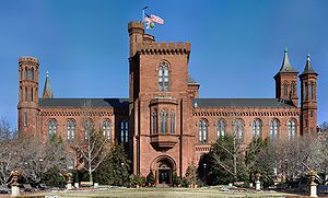"""Smithsonian Institution  Rear view of """"The Castle"""", the Institution's headquarters"""
