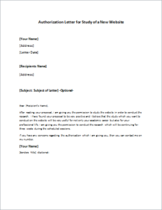 New Website Study Authorization Letter Download At Http