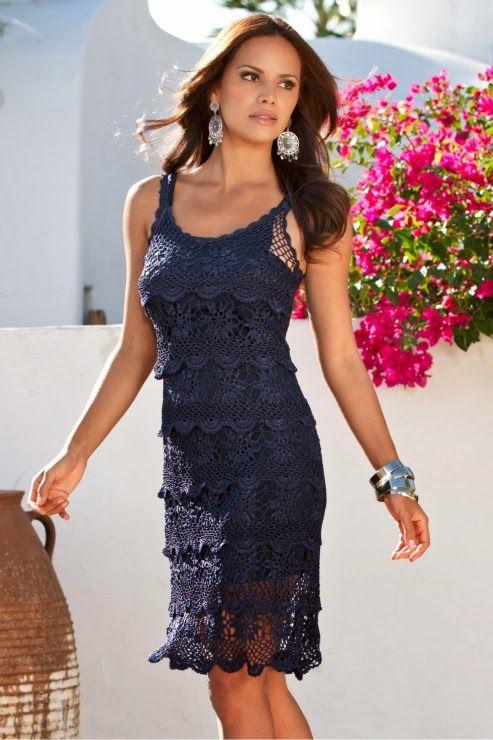 1d7194885 Vestidos para mujeres a Crochet Ruso con Gráficos, (TRICO y CROCHET ...