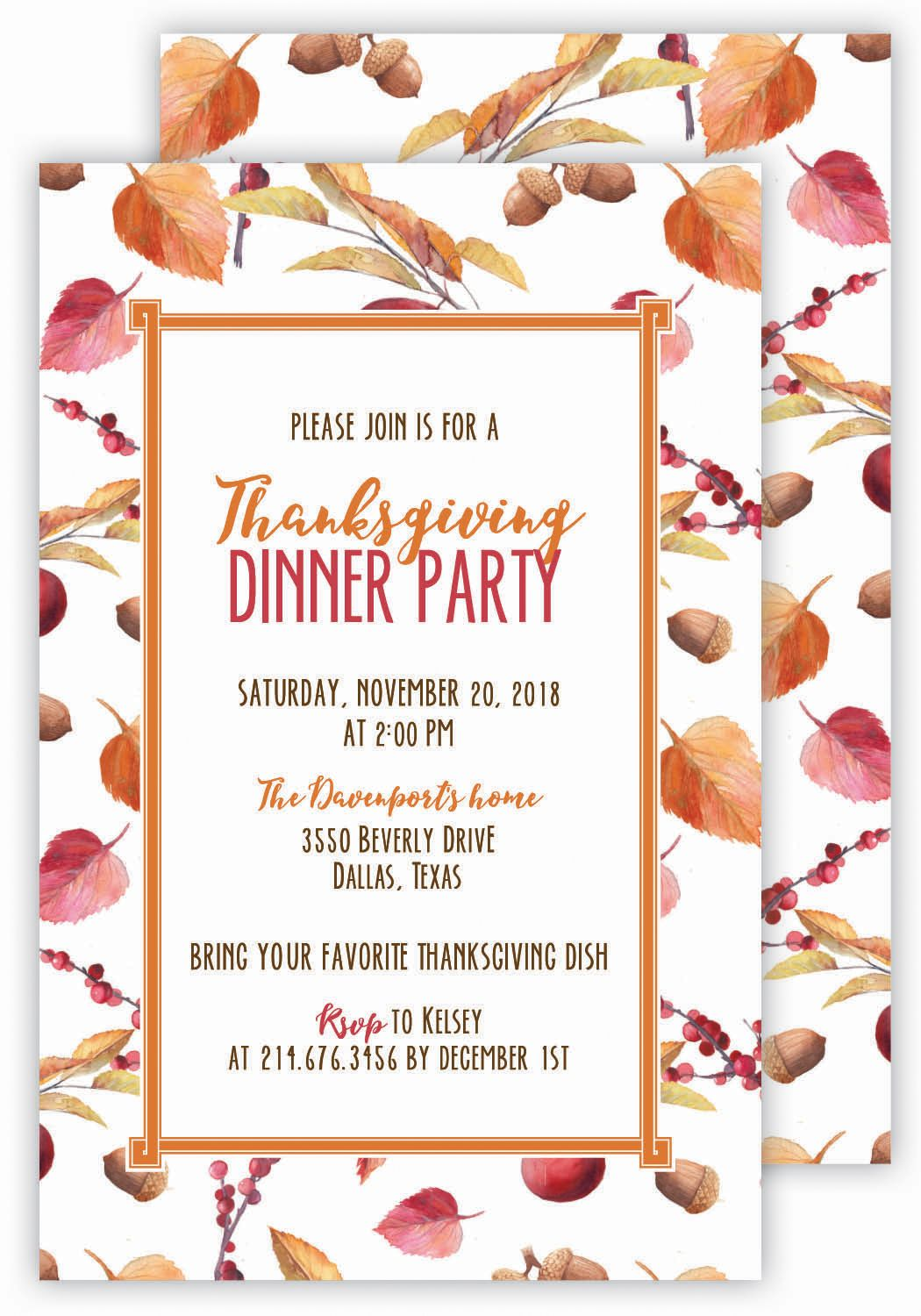 Thanksgiving Dinner Party Invitation Dinner party invitations