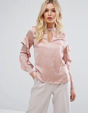 66b83ca58b8b8a Shirts | Women's shirts & blouses | ASOS | SATIN ll | Ruffle sleeve ...