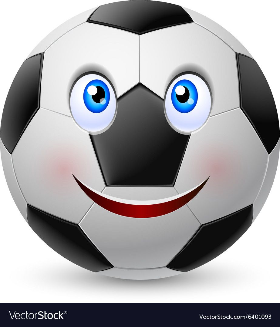 Smiling Face On Football Vector Image On Vectorstock In 2020 Smile Face Sports Emojis Football