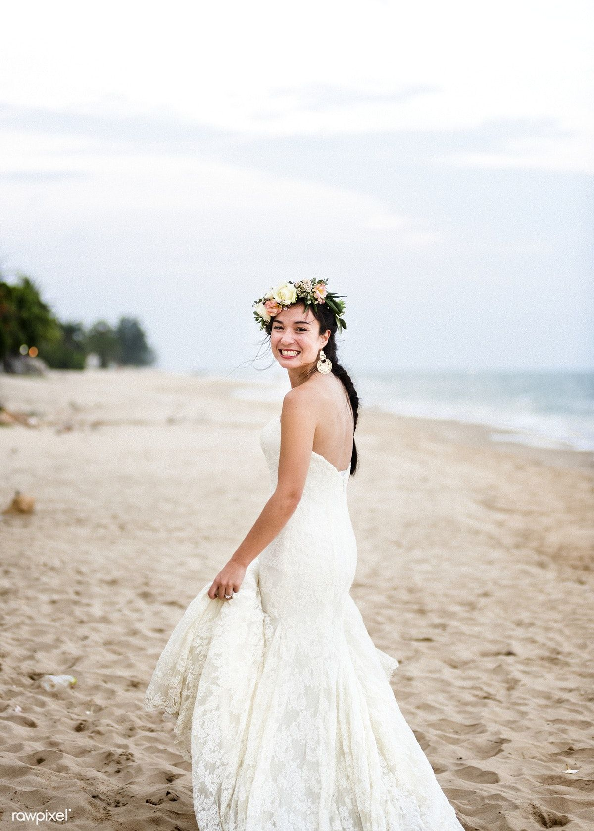 Download Premium Photo Of Young Bride In Her Wedding Dress On The Beach