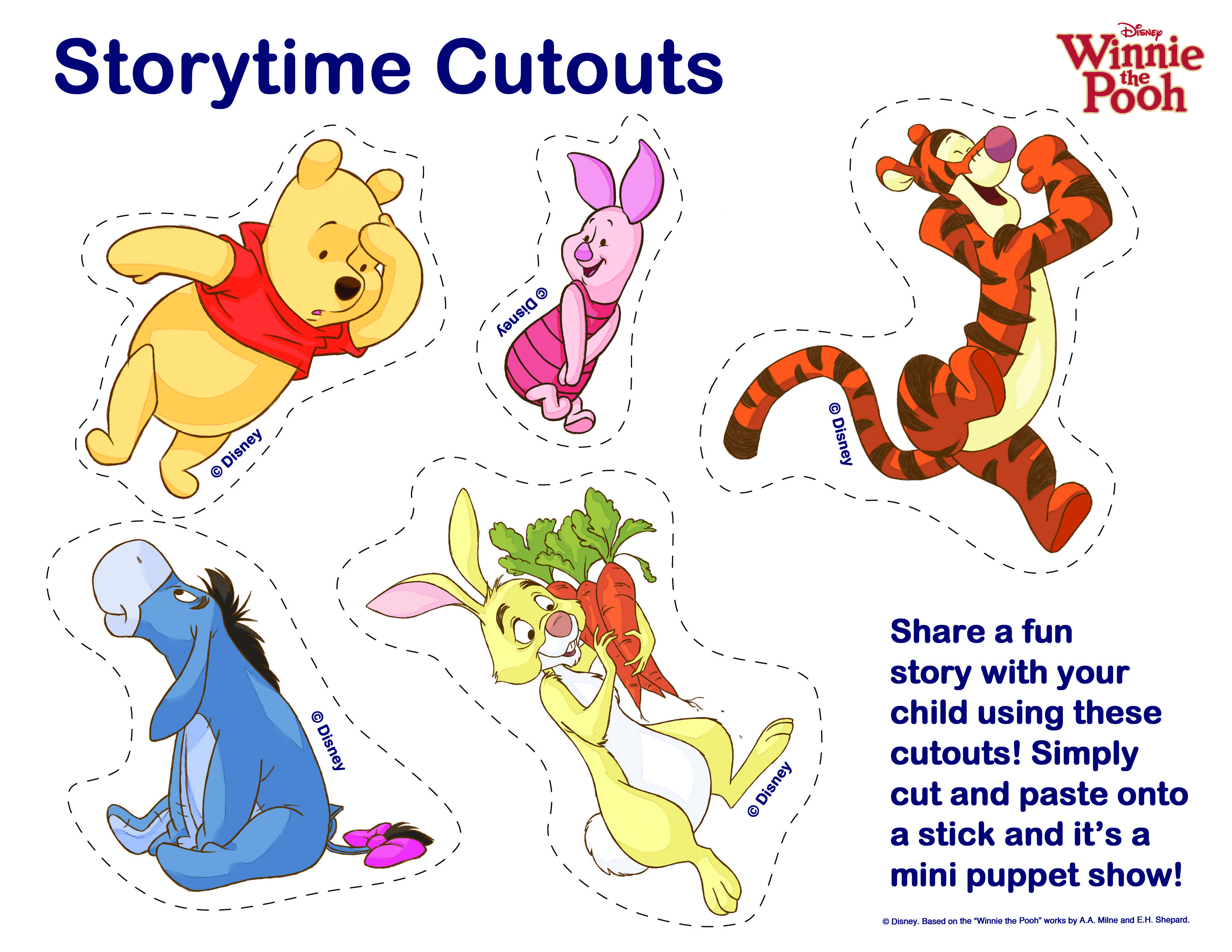 Story Time Cutouts (Pooh, Piglet, Tigger, Eeyore, and Rabbit) | The ...
