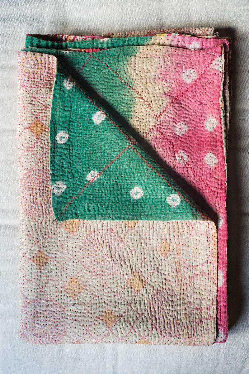 Hand-Stitched Kantha Gudri Throw Blanket 022