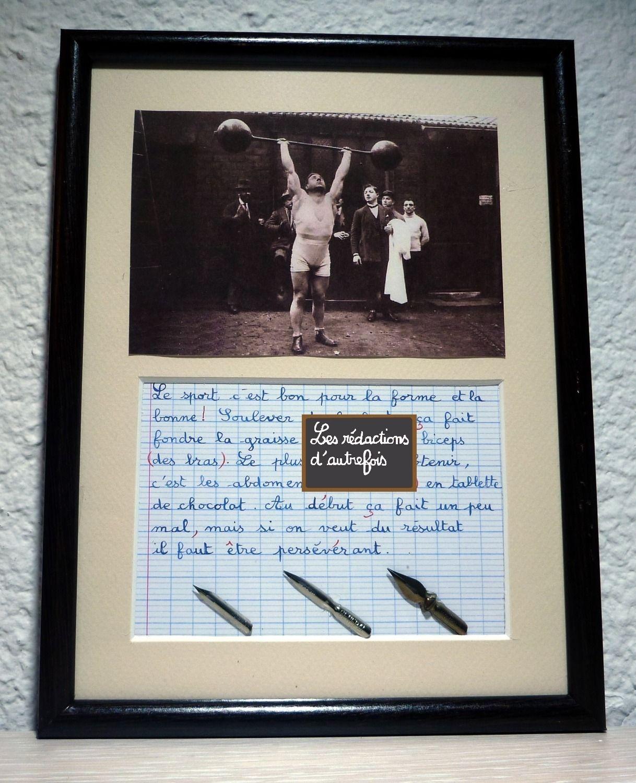 la musculation, tableau rétro écrit à la plume de style enfantin avec photo ancienne et plumes : Décorations murales par redactions-d-autrefois