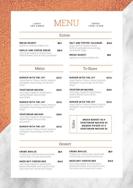Restaurant Menu Customizable Restaurant Menu Templates Easil Easil In 2020 Cafe Menu Design Menu Restaurant Menu Layout