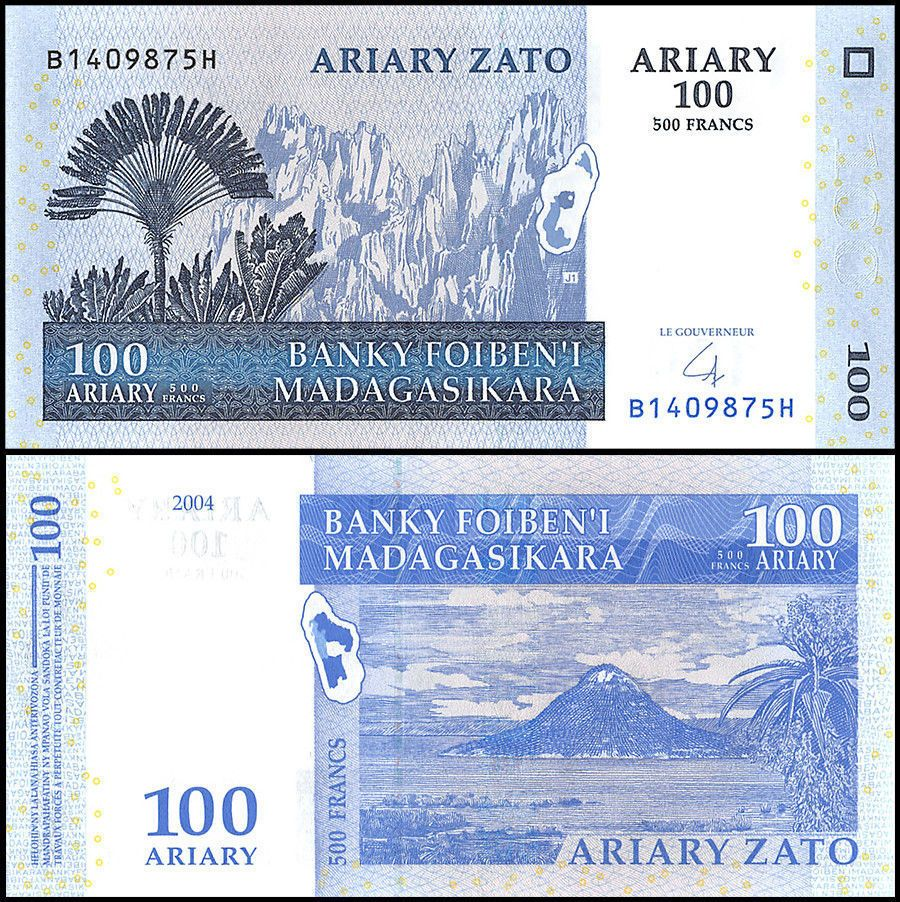 100 ARIARY PAPER MONEY FROM MADGASCAR AFRICA UNC
