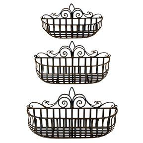 Robot Check Tuscan Wrought Iron Baskets On Wall Wrought Iron