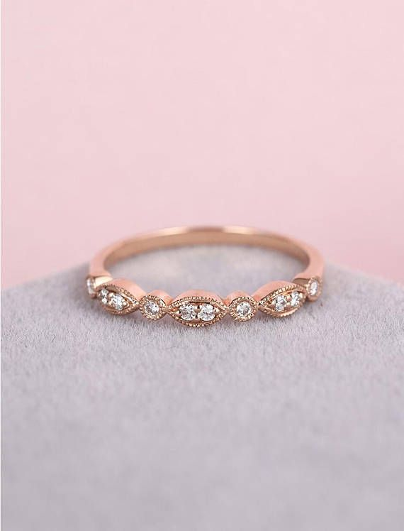 Vintage wedding band women Solid 14k rose gold Art deco marquise Half eternity band Delicate milgrain Stacking matching Promise Bridal set Description: - Vintage style diamond ring - natural diamond - comfortable band Natural diamond Weight - appox 0.1CT Shape - round Clarity - VS-SI
