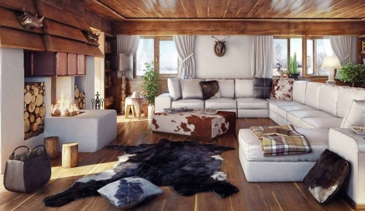 D co int rieur style chalet id es pour atmosph re chaleureuse tapis fourrure chemin e et les for Photo decoration interieure chalet