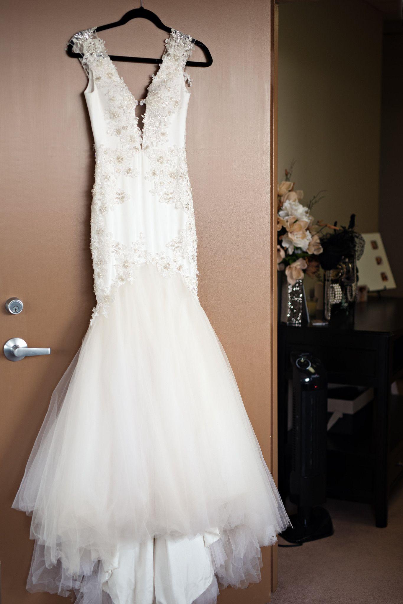White mermaid wedding dress  Sexy Couture Mermaid Wedding Dress With Deep V Neckline Style