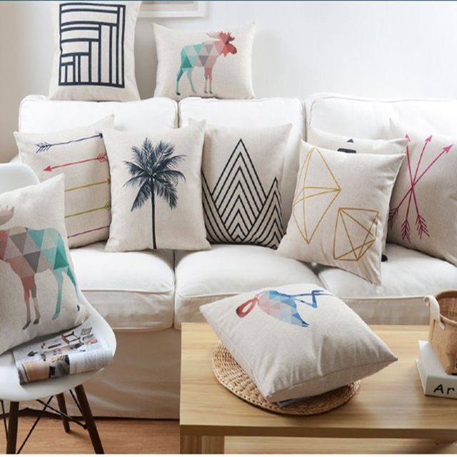 Nordic Abstract Geometric Home Decor Pillow Cushion Linen Cotton Coconut Trees Decorati Geometric Throw Pillows Geometric Decorative Pillows Decorative Pillows