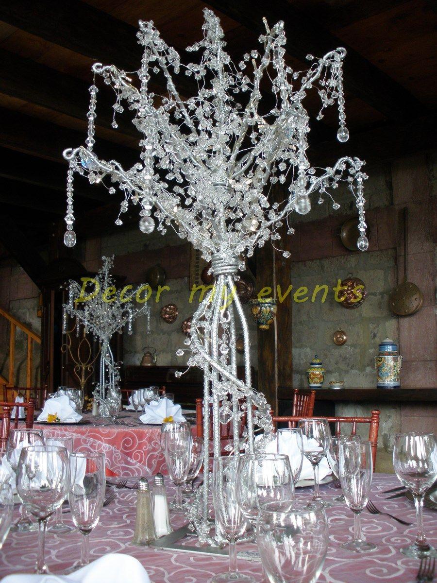 Elegante centro de mesa con cristales color plata - Cristales para mesa ...