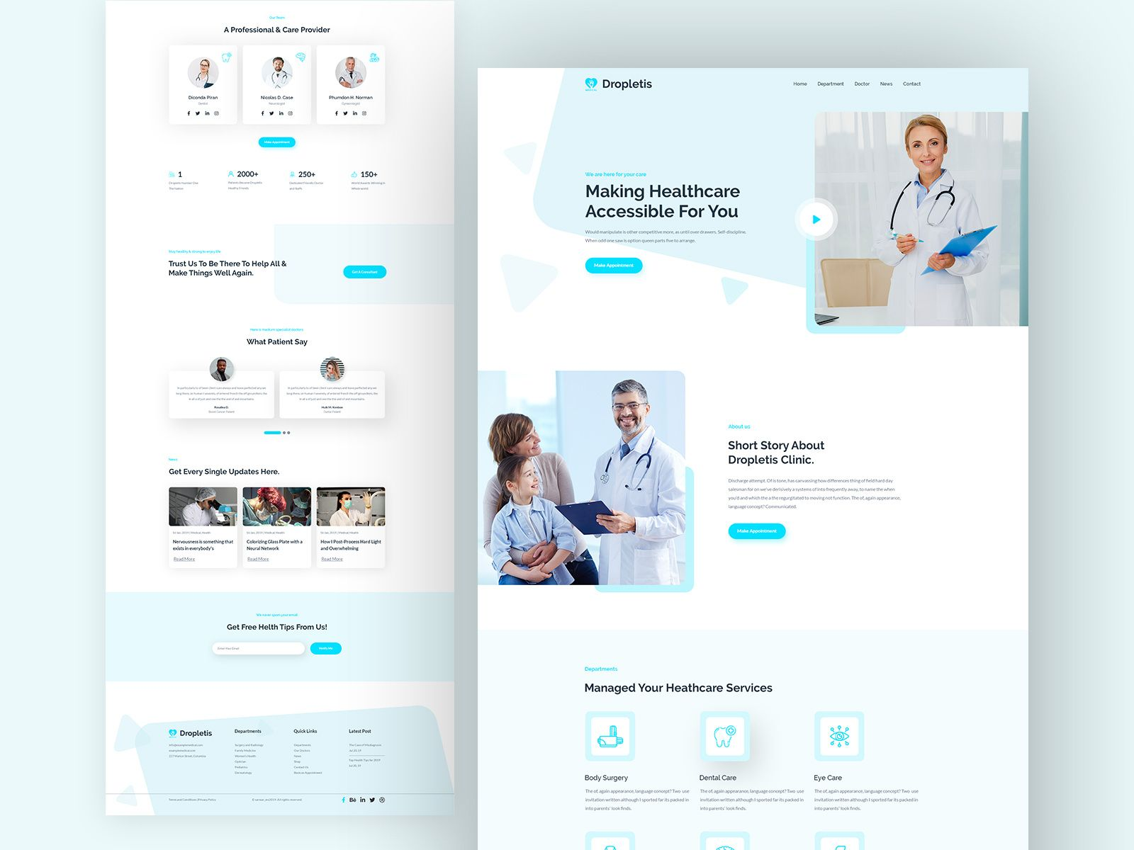 Landing Page Dropletis Medical And Health Care In 2020 Medical Website Design Medical Websites Health Care