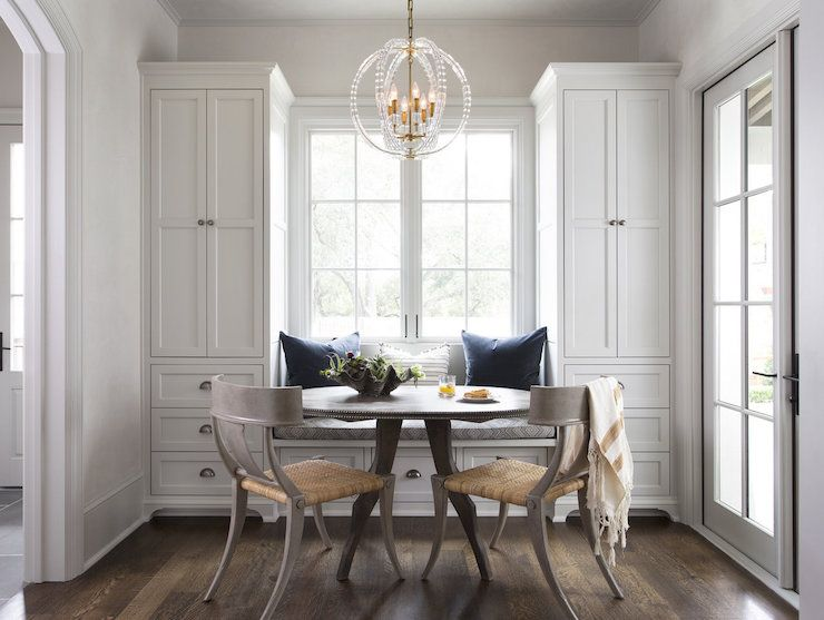 Klismos Dining Chairs Transitional Dining Room White Walls Adorable Window Seat In Dining Room Inspiration