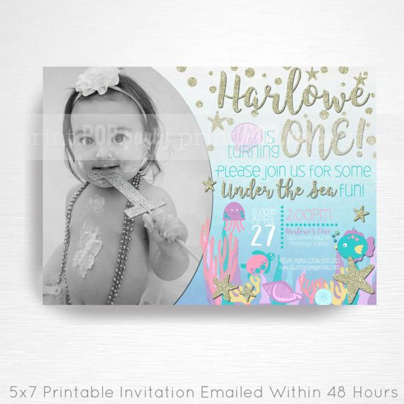 Under the Sea Ocean Birthday Party Printable Photo Invitation YOU Print Silver Purple Blue Teal Pink  This is an emailed file, nothing will be shipped to you. Please include your childs name, age and party details in the notes to seller section at checkout.  We will email your high-resolution, print-ready file within 48 hours of receiving your party details and photo (if photo invitation has been purchased please email your photo to amy [at] printpopparty.com).  Your invite will be formatted…