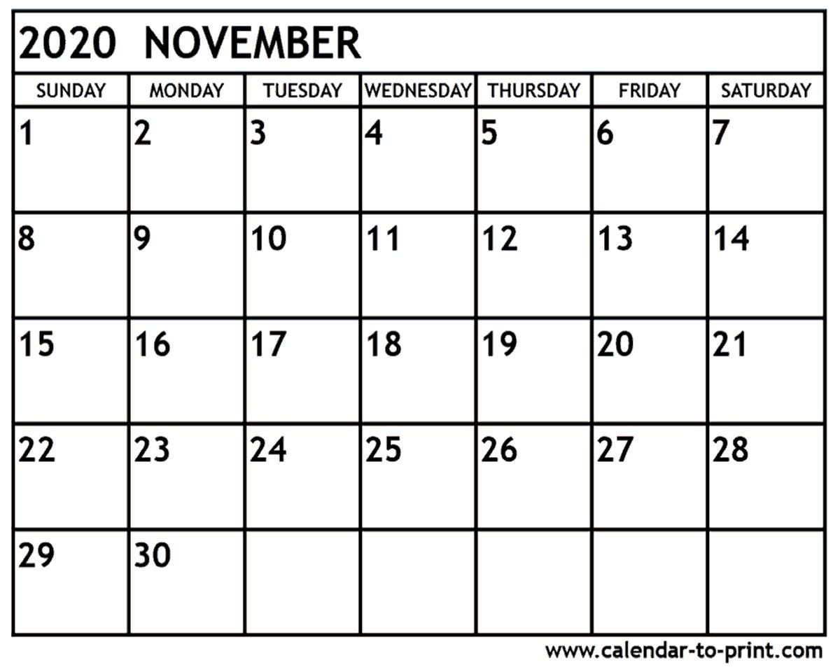 November 2020 Calendar Printable November 2020 Calendar Printable With Holidays November 2020 Calendars For Word Excel Pdf November 2020 Printable Calendar Free