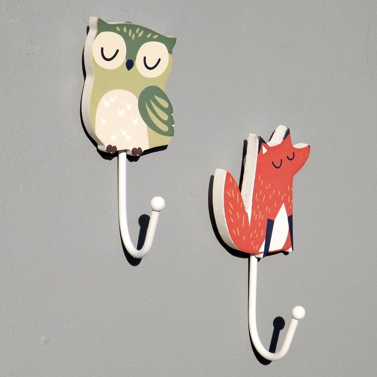 Kids Bedroom Hooks forest animal childrens coat hook, owl | coat hooks, owl and foxes