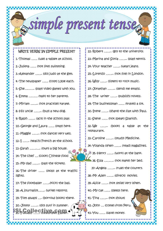 simple present tense english for kids pinterest worksheets printable worksheets and teacher. Black Bedroom Furniture Sets. Home Design Ideas