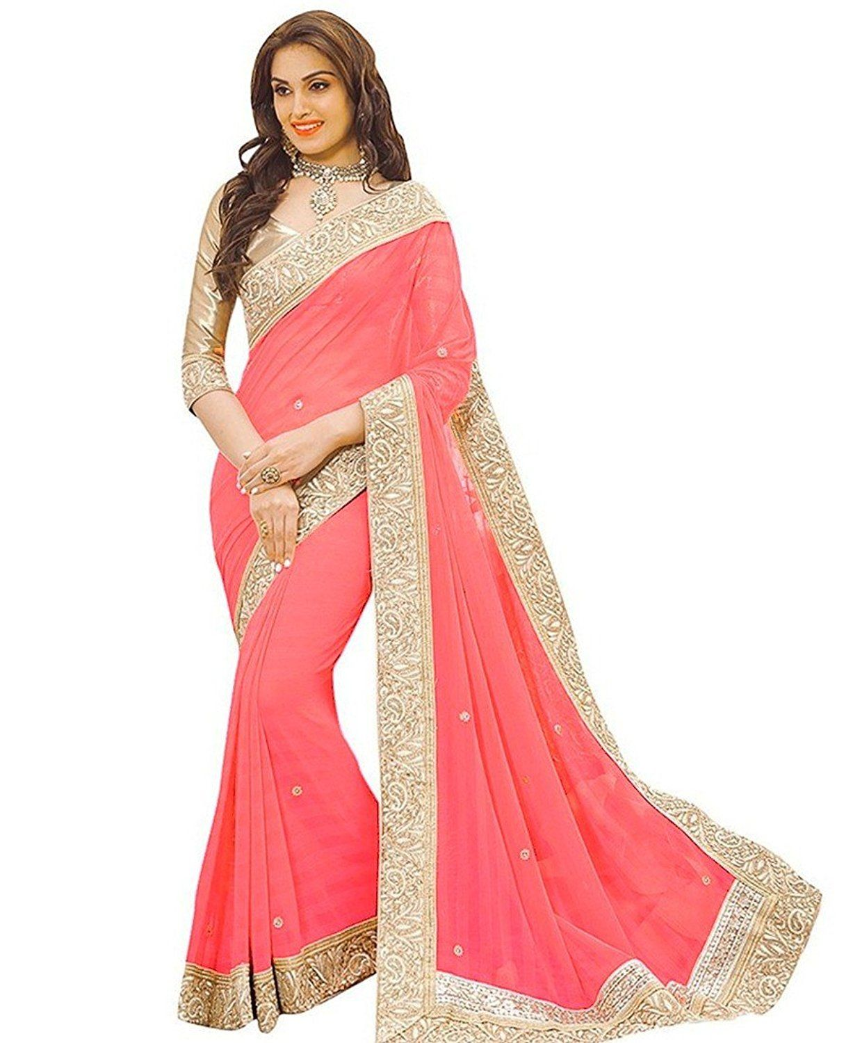 4ff5e1c8a70 Pink Color New Style Fancy New Embroidery Silk Saree 7 Days Easy Return