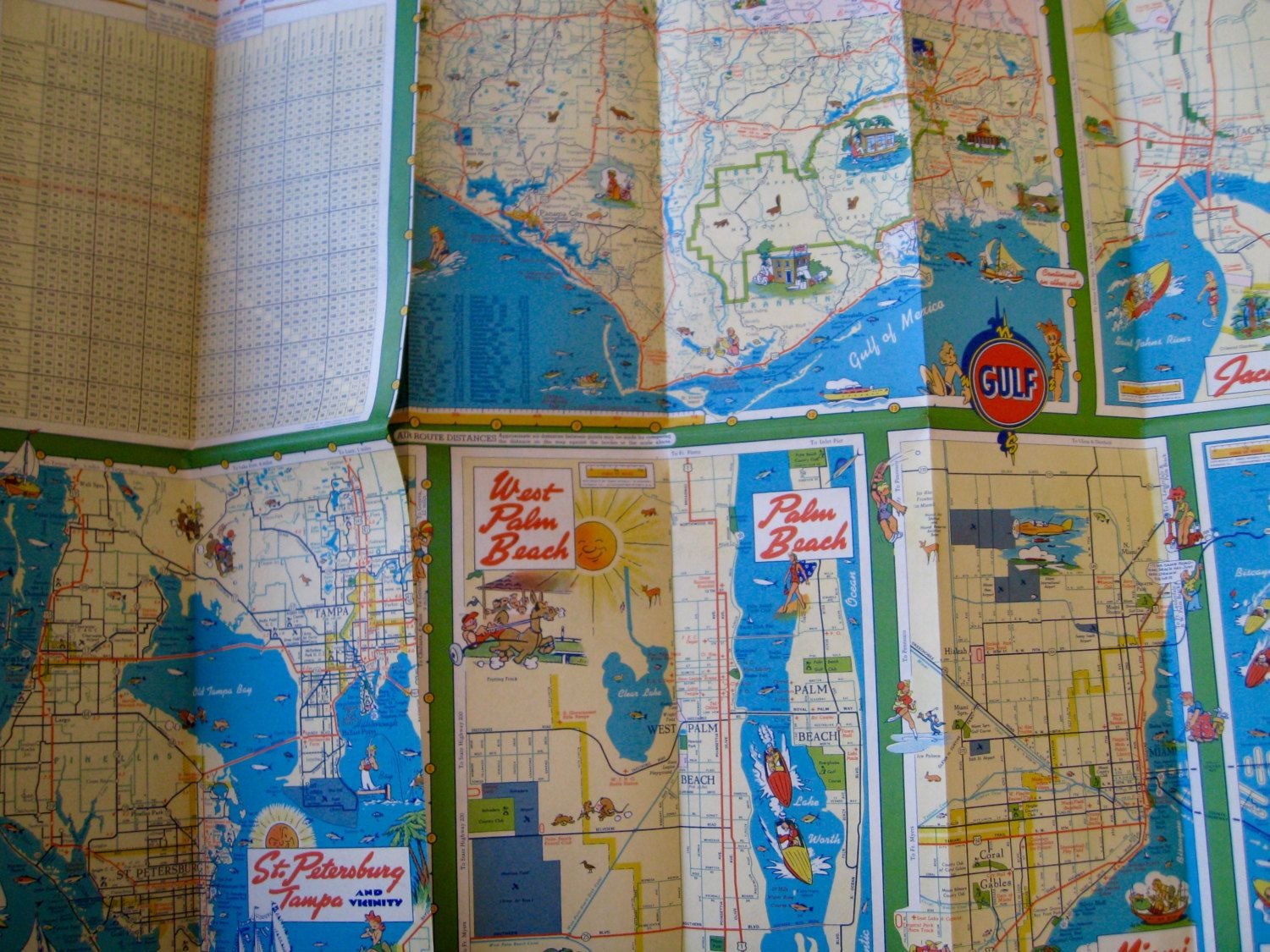Road Map Florida.Florida With Cuba Rare 1940s Gulf Oil Road Map Travel Map Road