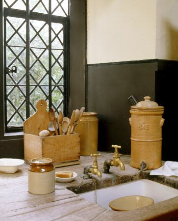 The Kitchen Sink At Dunham Massey With Wooden Draining Board And Wooden Utensils Box Yellow