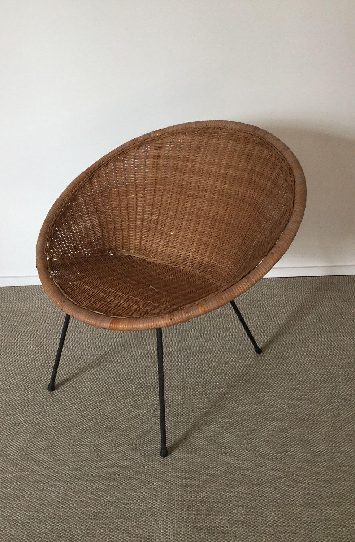 Mid Century 60er Jahre Sessel Aus Korb Rattan Wicker Chair Von