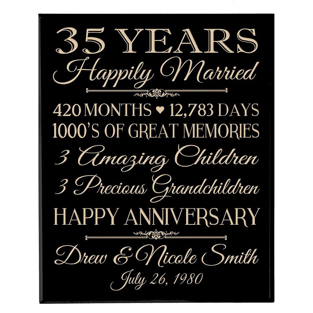 35th Wedding Anniversary Wall Plaque Personalized 70th