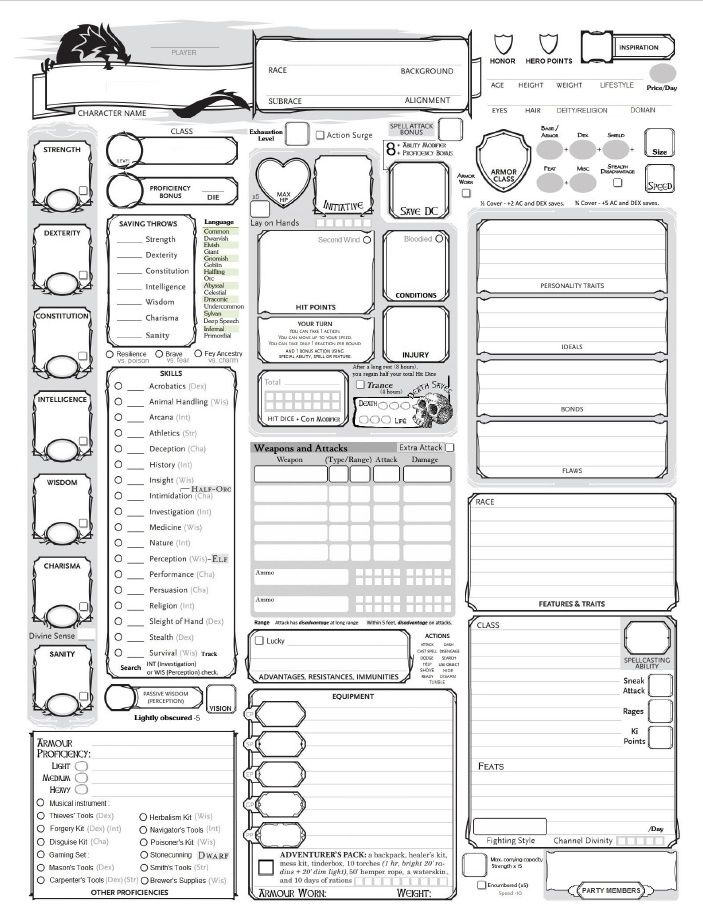picture regarding Pathfinder Character Sheets Printable titled Absolutely-Rich 5E Individuality Sheet DD inside of 2019 Rpg