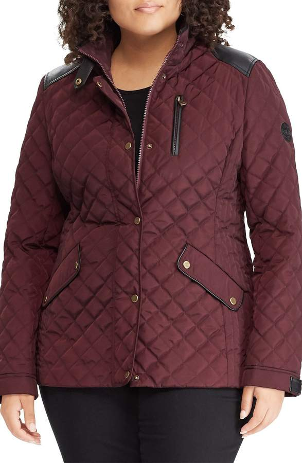a72f57e8e2b Lauren Ralph Lauren Quilted Jacket with Faux Leather Trim