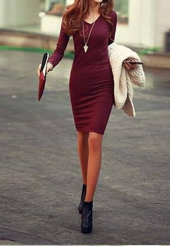 Solid Color Long Sleeve Simple Style V-Neck Cotton Packet Buttock Dress For  Women- for Arkansas wedding?