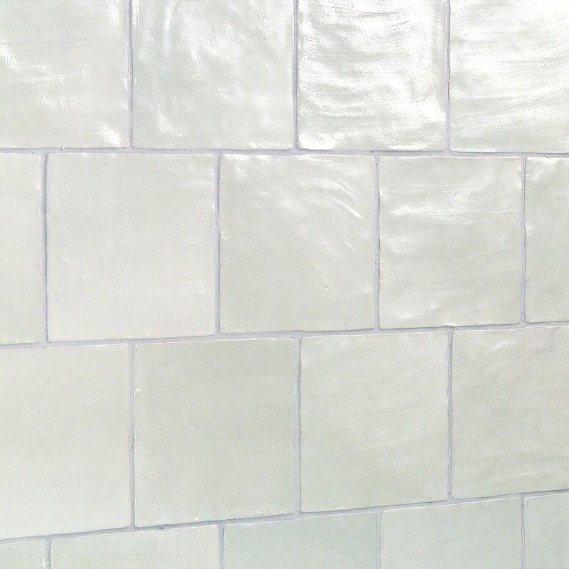 Montauk Sky 4x4 Ceramic Wall Tile in 2020   White hexagon ...