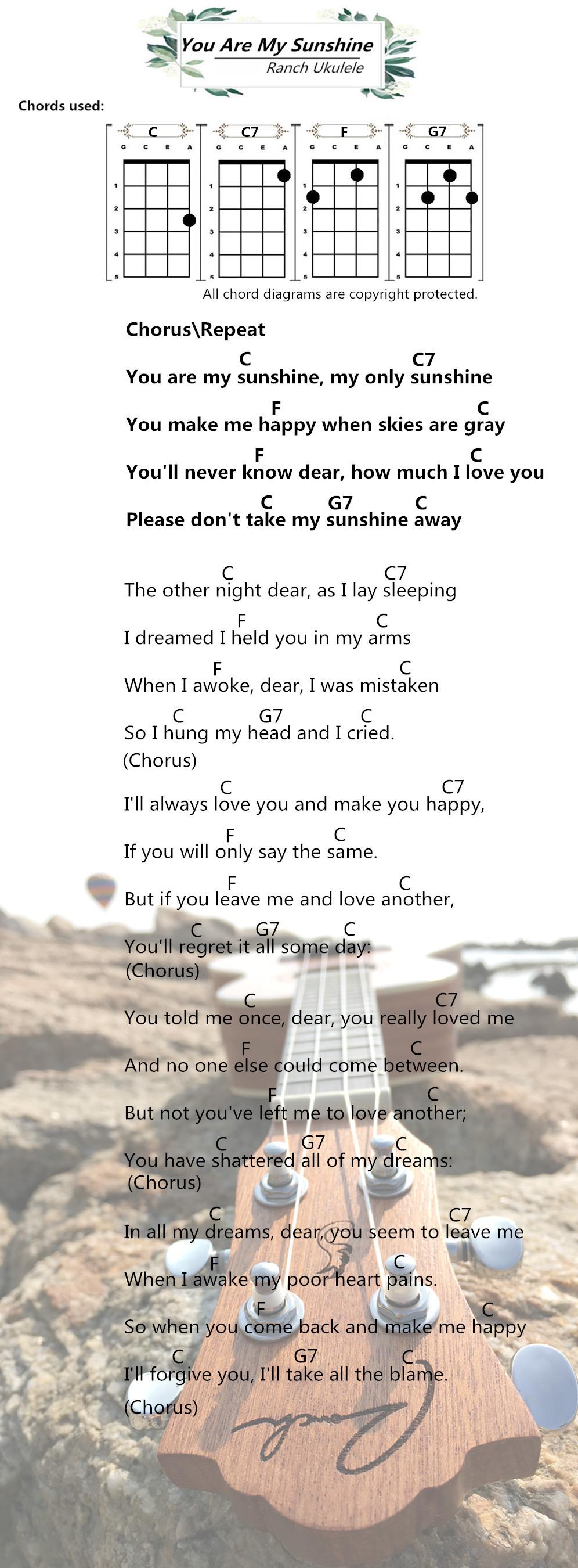 You Are My Sunshine Ukulele Notes : sunshine, ukulele, notes, Ukulele, Chords, –YOU, SUNSHINE, Ranch, Songs, Tutorial, Chords,, Ukulele,