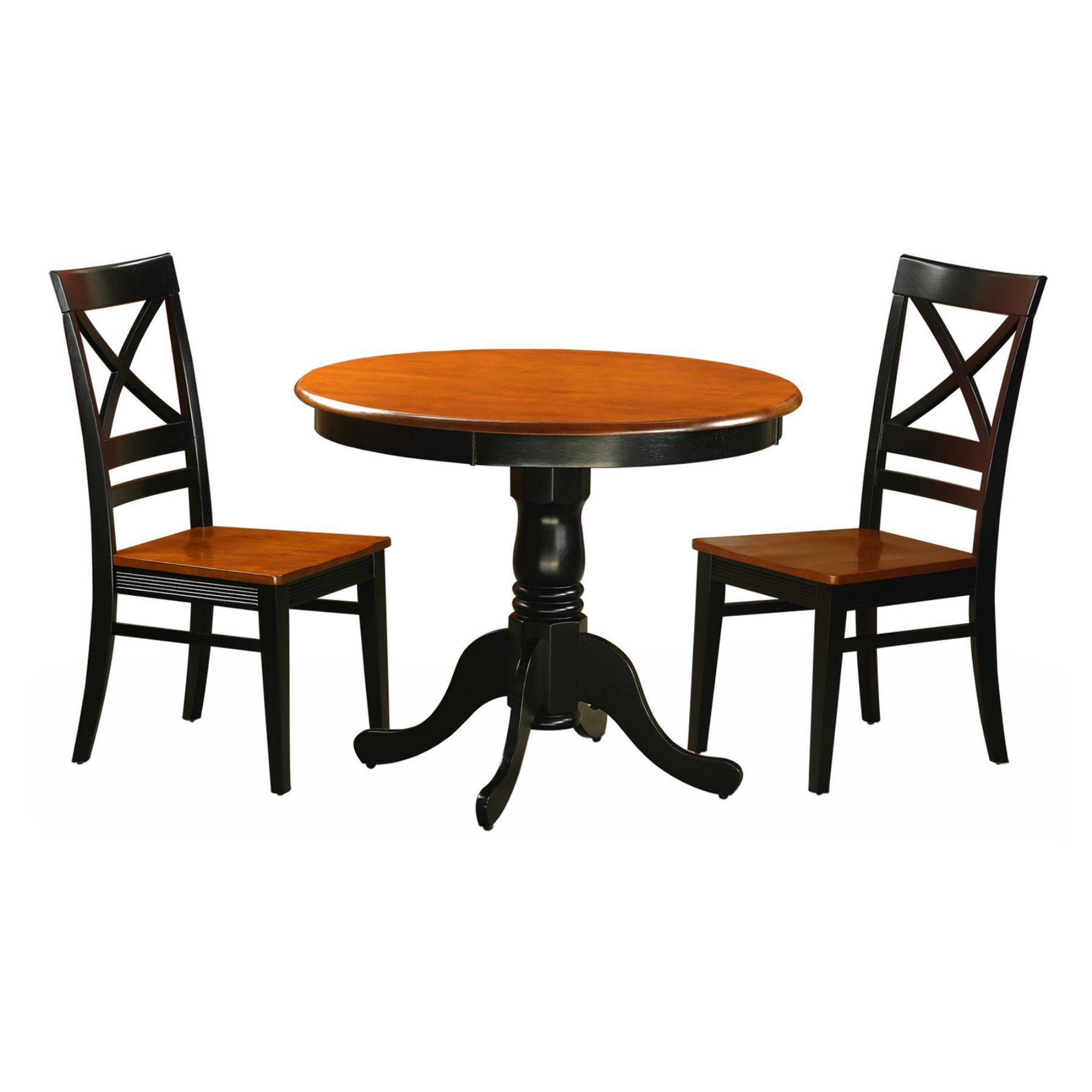 East West Furniture Antique 3 Piece Pedestal Dining Table Set With Magnificent Three Piece Dining Room Set Design Ideas